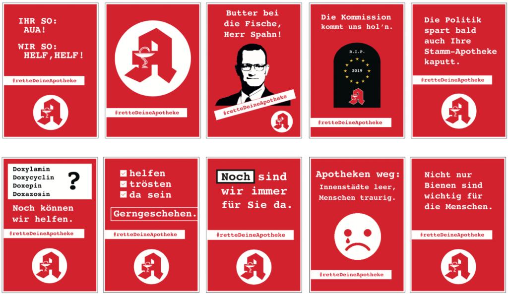 Plakate der Aktion #retteDeineApotheke